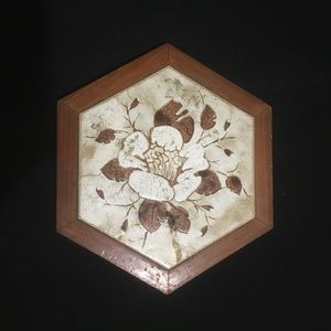 Vintage Made in Italy Stoneware Hexagon Trivet